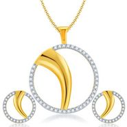 Sukkhi Fancy Gold & Rhodium Plated Pendant Set - White & Golden - 4066PSCZL1450