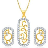 Sukkhi Eye-Catchy Gold & Rhodium Plated Pendant Set - White & Golden - 4068PSCZL1210