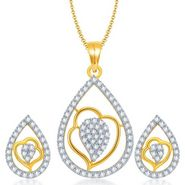 Sukkhi Exquisite Gold & Rhodium Plated Pendant Set - White & Golden - 4070PSCZL1660