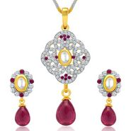 Sukkhi Enchanting Gold & Rhodium Plated Pendant Set - White & Golden - 4075PSKDV1250