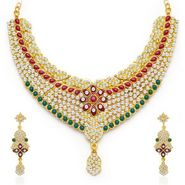 Sukkhi Gracefull Gold Plated Necklace Set - Golden - 2133NADV2900