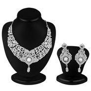 Sukkhi Delightful Rhodium Plated AD Stone Necklace Set
