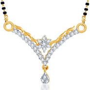Sukkhi Gold Finished Mangalsutra Pendant - White & Golden - 123M500