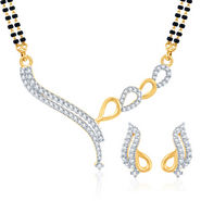 Sukkhi Gold Finished Mangalsutra Set - White & Golden - 128M1250