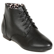 Leather Black Boots For Womens -tb4