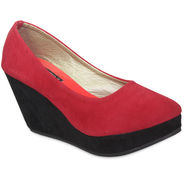 Ten Suede Red Wedges -ts13