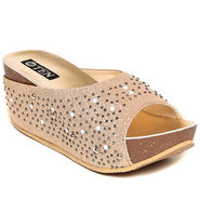 Synthetic Leather Copper Wedges -pltesancpr02
