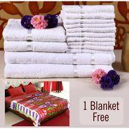 Combo of 100% Cotton Towel Set & Double Bed Fleece Blanket-CA1212