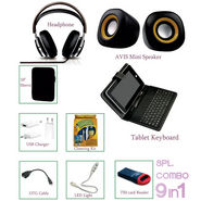 9 In 1 Combo With Tablet Keyboard, Mini Speaker, Headphone, Tablet Sleeve And USB Charger.