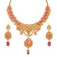 Variation Pink Enamel Pearl Choker Necklace Set_Vd13269