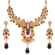 Variation Pink & Green Ethnic Kundan Gold Plated Necklace Set_Vd14205