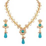 Variation Sky Blue Kundan Long Light Weight Necklace Set_Vd14209