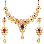 Variation Purple Color Pearl Necklace Set_Vd15757