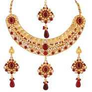 Variation Maroon Gold Plated Ethnic Necklace With Maangtikaa_Vd15895