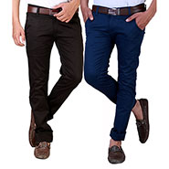 Pack of 2 Velgo Club  Plain Comfort Fit Cotton Lycra Chinos_12415130