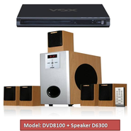 VOX 5.1 DVD Home Theatre 10000W with FM/USB/SD Card (DVD8100 + Speaker D6300)