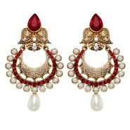 Vendee Fashion Pearl Studded Earrings - Red - 8390