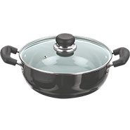 Vinod Black Pearl 260mm Induction Friendly Kadai With Glass Lid - Black