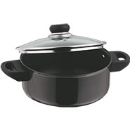 Vinod Black Pearl 220mm Cook & Serve Pot with Lid - Black