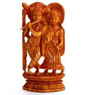 Hand Carved Wooden Radha Krishna Idol-WUD15305