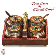 Aapno Rajasthan Tribal Design Tray Set with 4 Containers
