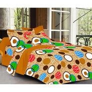 Valtellina Brown Color  Geomatrical Design  Double bedsheet With 2 Pillow cover