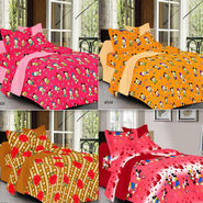 Valtellina Set of 4 100% Cotton Double Bed Sheets with 8 Pillow Covers-YM-4_003
