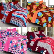Valtellina Combo of 4 Double Bed Sheets with 8 Pillow Covers-YTD_C2_36_50_51_55