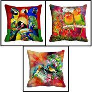 Set of 3 Pakshi Digital Beautiful Printed Cushion Covers-cd-4pakshi