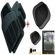 Combo Of Universal Car Foot-Mats Black + Car Side Window SunShade black