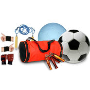 Combo Of Size 5 White (1991) and Black White (1991) PVC Football, Gym Bag, Gloves, Gripper, Skipping Rope, Wrist Band