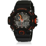 Fluid Analog & Digital Round Dial Watch For Unisex_d06or01 - Black & Orange