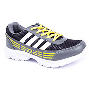 Foot n Style Synthetic Leather Sports Shoes  FS442 - Grey & Yellow
