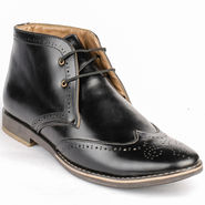 Foot n Style Cordovan Leather Black Casual Shoes -fs3040