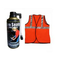 Help Combo Of Emergency Tyre Puncture Inflator Sealant Spray And Speedwav Reflective Jacket