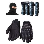 Combo Pack Fox Knee and Elbow Guard & Probiker Gloves Black L with Facemask