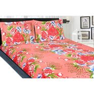 meSleep Cotton  Double Bed sheet With 2 Pillow Covers-Orange- 9021-OR