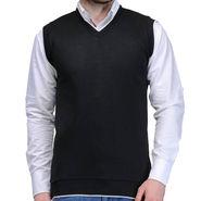 Oh Fish Plain Sleeveless V Neck Sweater For Men_Sblk1 - Black