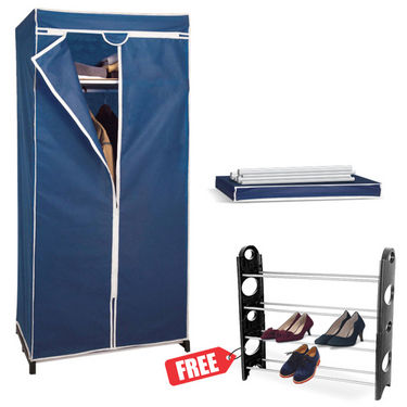Folding Cupboard  Wardrobe    Stylish   Space Saving + Free Shoe Rack available at Naaptol for Rs.1999