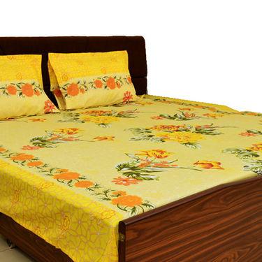 Korean 3 Designer Printed Double Bed Sheets + 9 Pillow Covers + Jaipuri Quilt