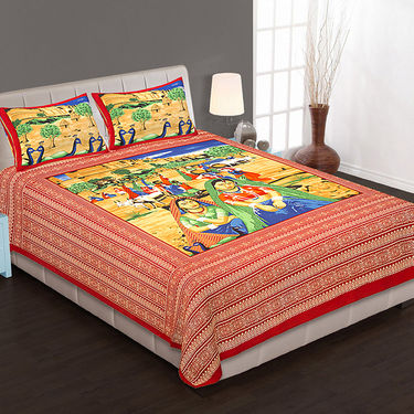 Set of 4 Cotton King Size Jaipuri Sanganeri Printed Bedsheets With 8 Pillow Covers-100x100B4C3