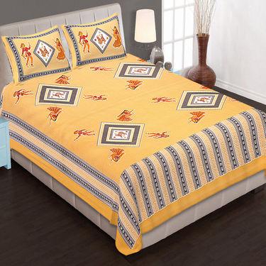 Set of 10 Cotton King Size Jaipuri Sanganeri Printed  Bedsheets and 20 Pillow Covers-10B90X108C2