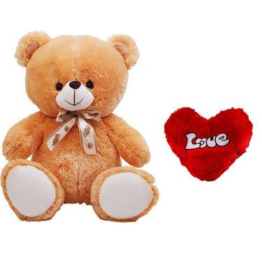 2 Feet Teddy Bear with Heart Shape Pillow - Brown