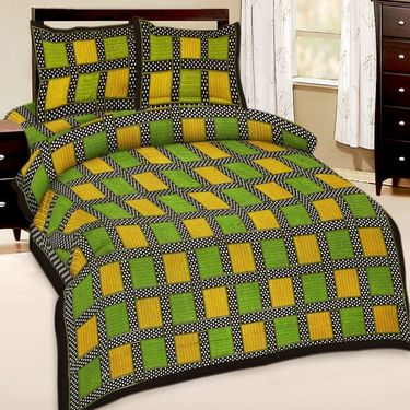 Set of 5 Jaipuri Print Double Bedsheets with 10 Pillow Covers-SRA5DB-1