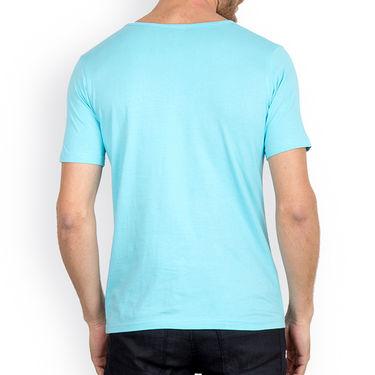 Incynk Half Sleeves Printed Cotton Tshirt For Men_Mht204aq - Aqua