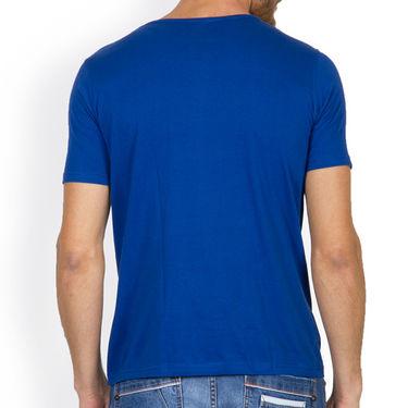 Incynk Half Sleeves Printed Cotton Tshirt For Men_Mht207b - Blue