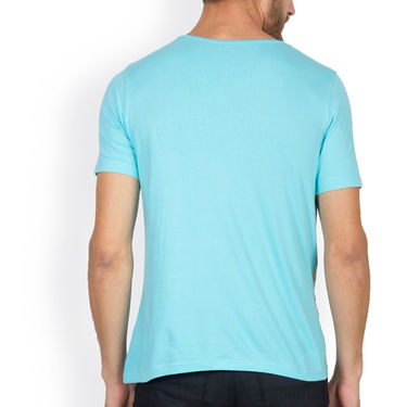 Incynk Half Sleeves Printed Cotton Tshirt For Men_Mht209aq - Aqua