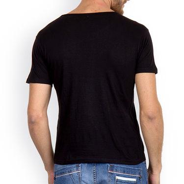 Incynk Half Sleeves Printed Cotton Tshirt For Men_Mht210blk - Black