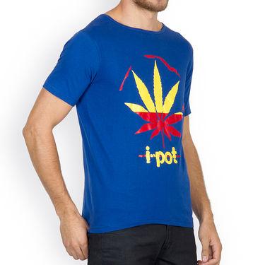 Incynk Half Sleeves Printed Cotton Tshirt For Men_Mht210b - Blue