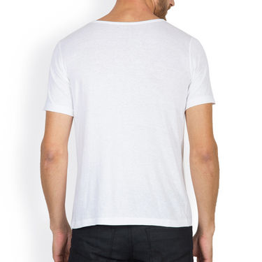 Incynk Half Sleeves Printed Cotton Tshirt For Men_Mht212wht - White